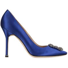 Manolo Blahnik Women 105mm Hangisi New Satin Pumps ($965) ❤ liked on Polyvore featuring shoes, pumps, royal blue, handcrafted shoes, buckle shoes, royal blue pumps, royal blue shoes and embellished shoes