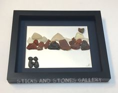 Couple With Mountains Pebble Art Beach Glass by SticksnStone