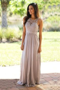 Gray Maxi Lace Bridesmaid Dress Saved by the Dress: $59