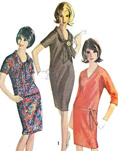 Vintage 1960s Simplicity 6080 one or two piece dress (including personal fit tissue chart). Dress or top with raglan sleeves has v neckline and