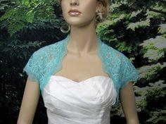 Pale Turquoise cap sleeve bridal lace wedding bolero jacket