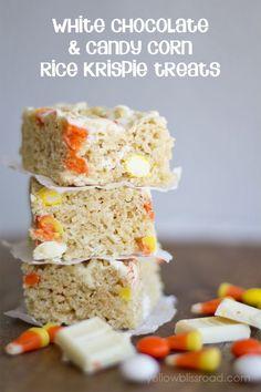 Halloween Desserts | White Chocolate and Candy Corn Rice Krispie Treats