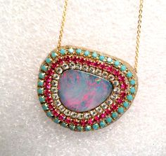 Opal Doublet and Multi Crystal necklace by YaronaJewelryDesign, $109.00