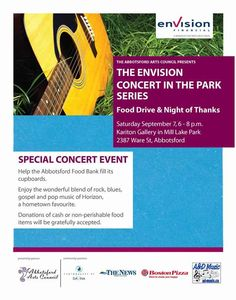 Envision Concert in the Park Series Food Drive & Night of Thanks, September 7, 2013
