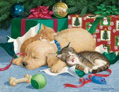 Christmas cat painting. Persis Clayton Weirs - Too Much Fun