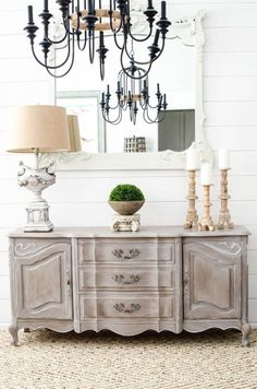 French Country Lamp Makeover with French painted buffet and chandelier makeover against a shiplap wall