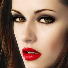 Bella Swan Vampire :D - Copper Hair Color - jojosoley's Makeover . Vamp Makeup, Kiss Makeup, Kristen Stewart, 1960s Hair, Thin Eyebrows, Dramatic Eye Makeup, Eye Painting, Provocateur, Copper Hair