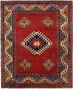 "Caucasian Kazak Rug: Bordjalou  Kazak Rug Size: 4' 8"" x 5' 7"""
