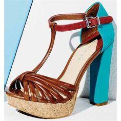 colorblock T-strap sandal