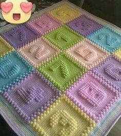 Custom Listing For Mary O'Brien, Crochet Bobble Blanket, Baby Blanket by WishWantDesire on Etsy Bobble Stitch Crochet, Crochet Quilt, Crochet Granny, Crochet Blanket Patterns, Baby Blanket Crochet, Baby Knitting Patterns, Baby Patterns, Crochet Stitches, Crochet Baby