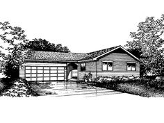 Eplans Ranch House Plan - Two Bedroom Ranch - 1068 Square Feet and 2 Bedrooms from Eplans - House Plan Code HWEPL62153