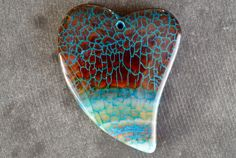 55mm Dragon Veins Agate Pendant, Stone Heart Pendant, 55x41x7mm Natural Stone, Stone Heart Pendant Brown, Blue Stone by TheBeadBandit on Etsy