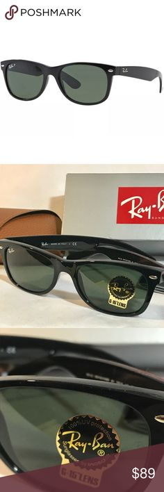 Ray-Ban Sunglasses New Wayfarer RB 2132-901 Ban New Wayfarer Classic sunglasses. Comes with original box, brown case, paperwork. Cleaning cloth is missing   Using the same iconic shape as the classic Wayfarer, these sunglasses offer an updated version that includes a smaller frame and slightly softer eye shape. PRODUCT INFORMATION Style: Square/Wayfarer Frame material: Plastic Lens material: Glass Eye size: 52 Bridge/temple size: 18/145 Looks best on these face shapes: Oval, Round Ray-Ban…
