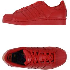 Adidas Pharrell Williams Low-Tops & Trainers ($87) ❤ liked on Polyvore featuring shoes, sneakers, adidas, red, adidas sneakers, flat sneakers, leather trainers, red sneakers and adidas shoes