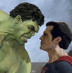 Hulk vs Superman by Mark Spears
