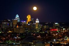 Cincinnati at the full moon, looking east