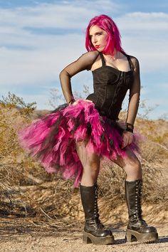 Bubblegum Pink and Black trashy bustle TuTu by MTCoffinz