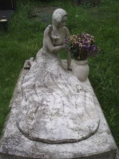 The Bride in her Wedding Dress grave stone in St Pancras and Islington Cemetery London