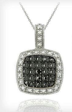 BLACK DIAMOND-ACCENT SQUARE 18 NECKLACE VALUE:$65