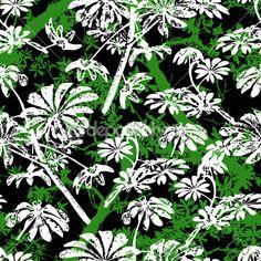 Узор с тропические деревья и листья — стоковая иллюстрация #52487443