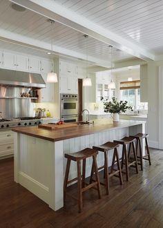 Light and warm kitchen.