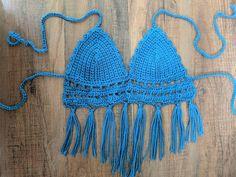afbfb3d408a32 Crochet Handmade Adjustable Soft Fringe Royal Blue Small Cup Bralette Top  Bralette Tops