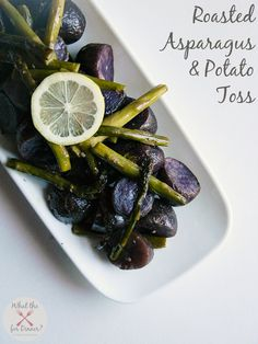 Roasted Asparagus & Potato Toss | MomsTestKitchen.com. Vegan option: use non dairy butter. Quick and easy...looks pretty too!