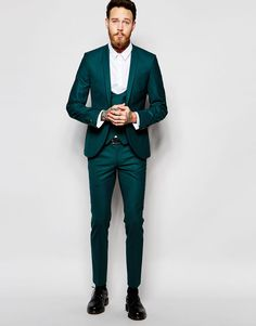 Noose & Monkey Green Suit with Stretch And Shawl Lapel in Skinny Fit