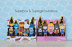 superhero and supergirl invitations