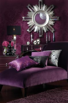 LIVING ROOM PURPLE ON PURPLE | Retro Leather Sofa In Purple Living Room Decoration Rendering : Modest ...
