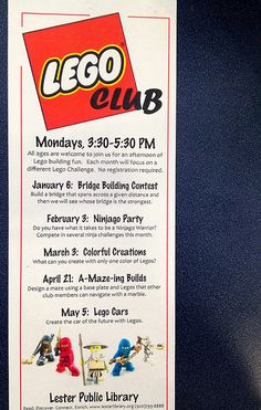 LEGO Club poster from Lester Public Library