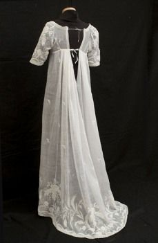 Regency England. early date? possibly 1805? drawstring back, beautiful whitework embroidery