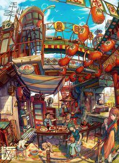 Fantasy Art Landscapes, Fantasy Landscape, Pretty Art, Cute Art, Anime City, Cyberpunk City, Illustration Story, Landscape Concept, Paper Artwork