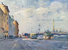 Arseny Semionov — The Leningrad in the morning. 1969. Oil on canvas, 60 x 80 cm / #SaintPetersburg