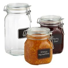 Glass jars (container store) that already have chalk labels on them. Use these for the tricky things that look different. Popcorn and other stuff can go in unlabeled ones.