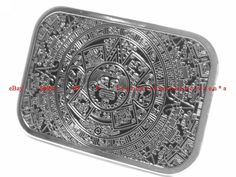 silver mayan numbered belt buckle set | ... AZTEC CALENDAR MAYAN INDIAN THE END OF THE WORLD RECTANGLE BELT BUCKLE