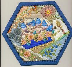 Viv's Crazy Quilting Journey: Hexagon 19 Bluebirds