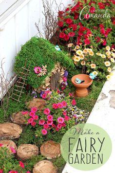 Build a charming DIY fairy garden. Fairy gardens are perfect for small outdoor spaces. Learn how to start a fairy garden, how to make a DIY fairy house, and have fun fairy gardening. Mini Fairy Garden, Fairy Garden Houses, Garden Art, Fairy Gardening, Gnome Garden, Fairies Garden, Container Gardening, Garden Boxes, Big Garden