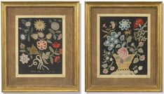 Two English needlework pictures of flowers one dated 1772  Sotheby's
