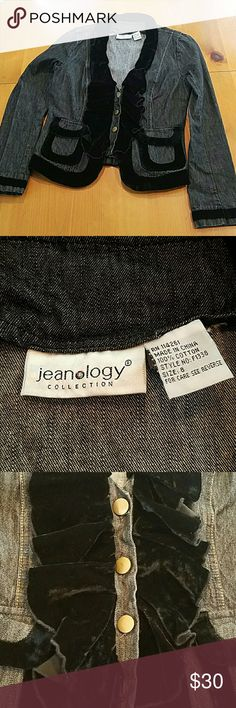 Jeanology Black Velvet  Trim Denim Jacket Jeanology black velvet-like trim on neckline, bottom, pockets, and cuffs. Size 8. Material  is durable polyester spandex blend. Super cute denim black jacket. Perfect for the upcoming Fall. Jeanology Jackets & Coats Jean Jackets