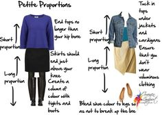 How to use the golden mean with skirts and tops when dressing - particularly for #petites
