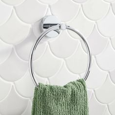 The Edenton Towel Ring is a sleek accessory for a modern bathroom. The simple design features a round shape and subtle details. Suitable for a wet environment, this holder has a tarnish-resistant finish that promises to last. Towel Rings, Bathroom Hardware, Ring Shapes, Types Of Rings, Bathroom Accessories, Polished Chrome, Simple Designs, Brass, Silver