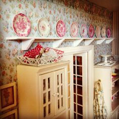 Mini plate collection. Displayed in a mini kitchen. 1:12 scale dollhouse miniatures