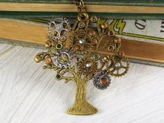 Steampunk Family Tree Birthstone Necklace Steampunk by fripparie