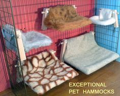 Beautiful Faux Fur Hammocks for Smaller Pets ( price includes cage hooks