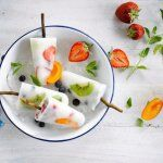 Cool down in style this summer with fruity coconut popsicles made with Alpro Coconut Original drink Uk Recipes, Dairy Free Recipes, Baby Food Recipes, Cooking Recipes, Homemade Fruit Popsicles, Coconut Popsicles, Fruit Lollies, Frozen, Sorbets