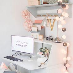 White, blush and grey workspace. Hemnes bureau styling