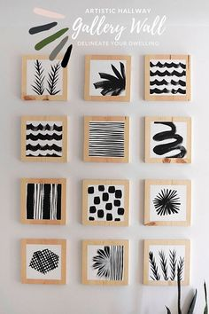 Learn how to create a gorgeous Artistic Hallway Gallery Wall using simple wooden blocks and paint. Add simple black paint and modern patterns to bring a creative, fresh and unique look to your home! Delineate Your Dwelling Diy Artwork, Artwork Ideas, White Acrylic Paint, Easy Diy, Simple Diy, Wood Blocks, Glass Blocks, Painting On Wood, Block Painting
