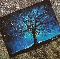 Art, oil pastel painting, blue night sky with black tree. Oil Pastel Drawings, Art Drawings, Oil Pastel Paintings, Kunst Portfolio, Soft Pastel Art, Examples Of Art, Galaxy Art, Wow Art, Acrylic Art