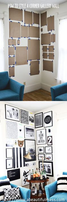 How To Style A Corner Gallery Wall by front door??